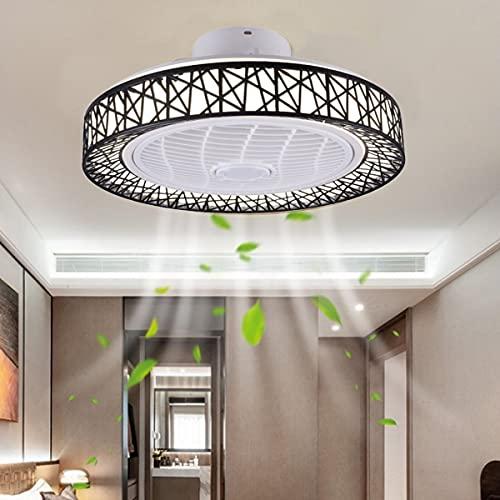 Ventiladores De Techo Iluminación Con Control Remoto Luz De Techo LED Para Guardería 36W Nido De Pájaro Moderno Lámpara De Fan Silenciosa Regulable Lámpara Colgante Para Habitación De Niños Negro
