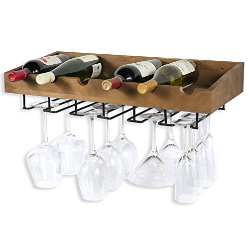 ArtifactDesign Wall Mounted Wood Wine Rack for Bottles with Stemware Glass Storage (1, Walnut Stained)