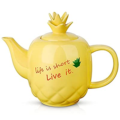 Toptier Ceramic Teapot, Large Tea Pot with Stainless Steel Infuser, 40 Ounce, Blooming & Loose Leaf Teapot for Tea Lover, Gift, Family, (Yellow Pineapple)