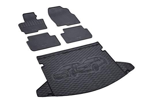Rigum Passende Gummimatten und Kofferraumwanne Set geeignet für Mazda CX-5 ab 2012 + Gurtschoner