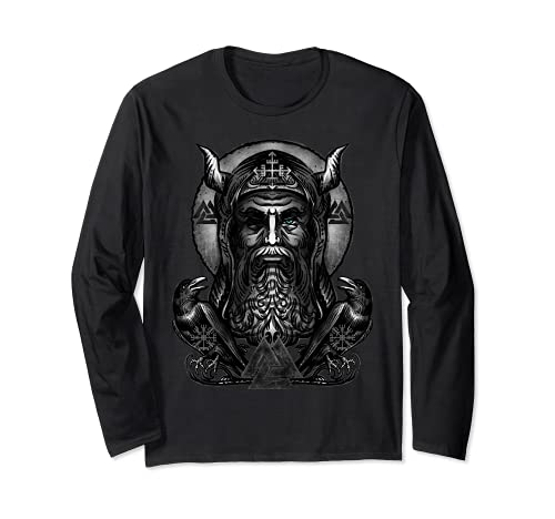 Odin Vikingo Dios Nordico Huginn & Muninn Cuervos Manga Larga