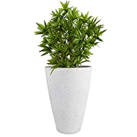"LA JOLIE MUSE Large Outdoor Tall Planter - 20"" Indoor Tree Planter, Plant Pot Flower Pot Containers, White,Honeycomb"