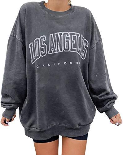 Yesgirl Sweatshirts Damen Winter Pullover Langarm Casual T-Shirt Cartoons Bunte Druckkapuze Rundhals Jacke Hoodies Warm Pullover Chic Jacke Bluse Top Gr. 48, H 01 Hellgrau