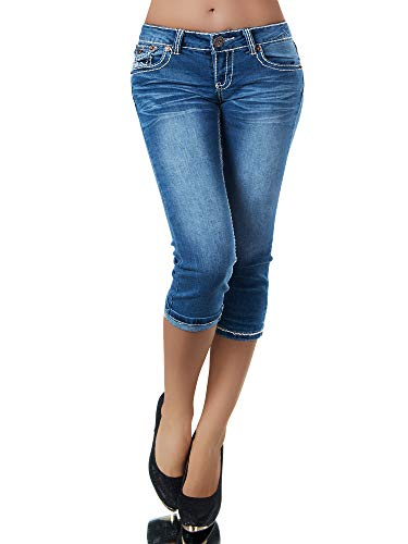 Unbekannt Damen Capri Jeans Hose Damenjeans Caprihose Caprijeans Bermuda Dicke Naht K900, Farben: Blau, Größen: 40 (L)