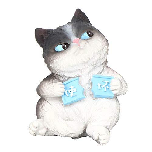 eecoo Cat Model Adornos, Mini Simulación Gato Animal Modelo Micro Figurilla Juguetes Regalo para Pastel Decoración de Coche Decoración del Hogar Adornos de Coche
