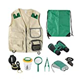 Ollieroo Kids Explorer Kit Outdoor Adventure Pack of 9 Exploration Set with Costume Vest Binoculars Flashlight Magnifying Glass Compass Whistle Bug Catcher and Viewer