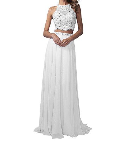 La_Marie Braut Langes Zwei-teilig Perlen Abendkleider Promkleider Partykleider Chiffon A-Linie Rock-32 Weiss