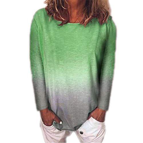 Generice - Camiseta de manga larga para mujer, diseño de degradado arcoíris Color de la foto-4 5X-Large