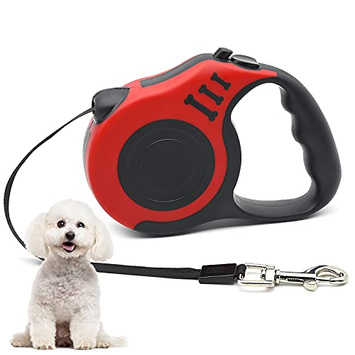 Einziehbare Hundeleine, Ausziehbar mit Rutschfester Griff & Verstellbar Hund Leine, 5m Nylonband Einhandbremse Pause Verriegelung Hundeleine, Rot