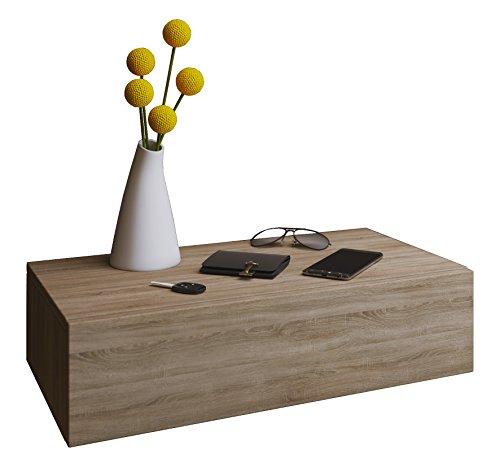 VCM Blado Maxi Wandregal/Wandschrank/Wandschublade mit schublade Nachttisch, Holzdekor, Sonoma-Eiche, 15 x 60 x 31.5 cm