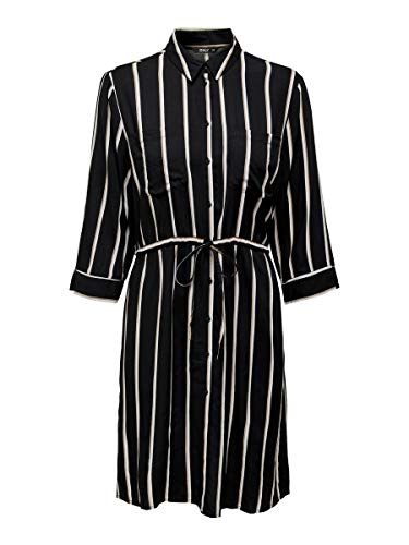 ONLY Damen ONLTAMARI 3/4 Shirt Dress WVN NOOS Kleid, Black/Stripes:White/Camel Stripe, 34