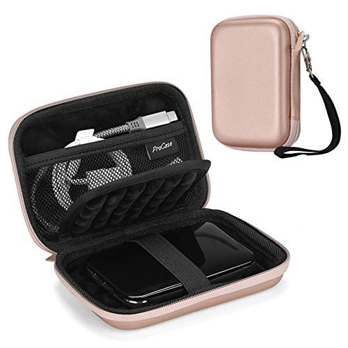 ProCase Externe Festplattentasche Case 6,35cm 2,5 Zoll Eva Universal Elektronik Powerbank Tasche Schutzhülle Kabeltasche Reise Organizer für wd My Passport Mobile, Zubehör, Kabel, HDD, SSD -Roségold