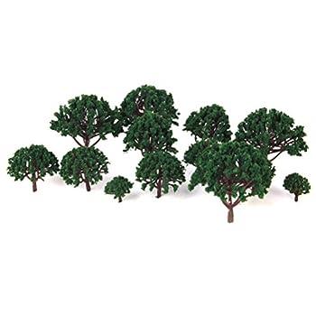 WINOMO Model Scenery Landscape Trees Scale Trees Diorama Models Model Train Scenery Architecture Trees Model Railroad Scenery 20pcs 3CM-8CM  Dark Green