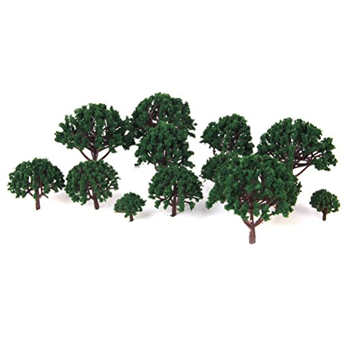 VORCOOL Modell Landschaft Landschaft Bäume Maßstab Bäume Diorama Modelle Modell Zug Landschaft Architektur Bäume, Modell Eisenbahn Landschaft 20pcs 3CM-8CM (dunkelgrün)