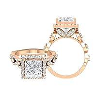 4.25カラットモアッサナイト婚約指輪、ヴィンテージリングレディース (8MM プリンセスカットモアッサナイト), 14K ローズゴールド, Size: 9