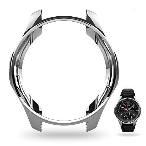 JZK Case for Samsung Galaxy Watch 46mm Gear S3 Screen Protector,Shatter-Resistant Protective Shell TPU Cover Case for Samsung Gear S3 Frontier/Classical and Galaxy Watch 46mm Accessories,Silver 1