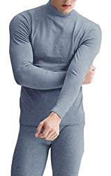 Belie Mens Super Soft Thermal Underwear High Neck Fleece Lined Long Johns Set