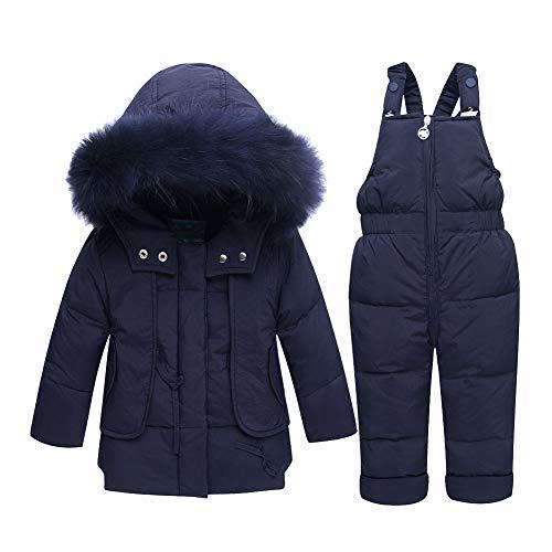 LSHEL Baby Schneejacke Mädchen Winter Schneeanzug Neuste Kinder Mädchen Bekleidungsset Winter Kapuzenjacke Entendaunen Jacke + Hose Schneeanzug Warm Kleidung Gr. 12-24 Monate, braun