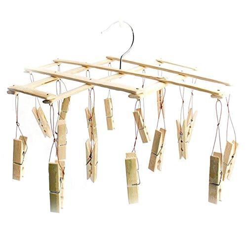 WUYUESUN Multifunción Bambú Calcetines Plegables Clips Racks RESTA DE PROTUCTIVA DE RESIDUCCIONES DE Personaje DE Personas A Prueba de Viento Ropa Interior Rack de Secado