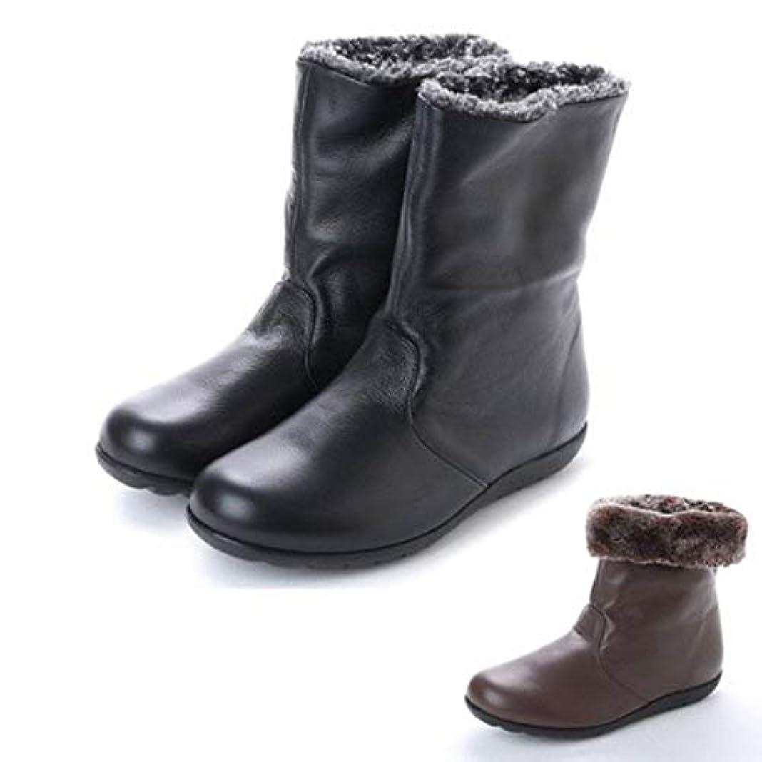 ピル空虚枕日本製 本革 ショートブーツ ボア レディース 2way ブーツ ショート フラット ローヒール ファー 3E 幅広 軽量 カジュアルブーツ 大きいサイズ 黒 ブラウン