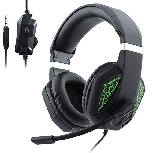 Cuffie Stereo da Gioco per PS4, PC, Xbox One, con Cancellazione del Rumore, Driver da 50mm, Microfono, LED, Bass Surround, Soft Cuffie, Controllo del Volume, per Smartphone, PC e Mac