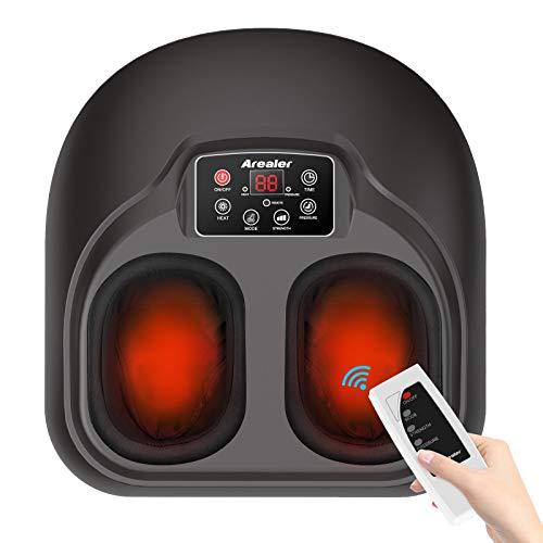 Arealer Massagegerät für Fuß, elektrisch, Shiatsu-Massage, beheizbar, mit Fernbedienung, Massagegerät, tiefer Kneten & Luftdruck, ergonomisches Gerät, Entspannung für Zuhause & Büro…