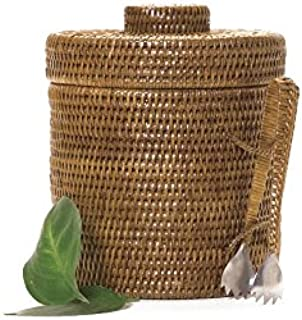 Artifacts Trading Company Rattan Small Ice Bucket with Tongs, 9