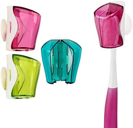 Toothbrush Holder Case with Suction Cup 3 Pcs Wall Toothbrush Holder with Cover Case Bathroom product image