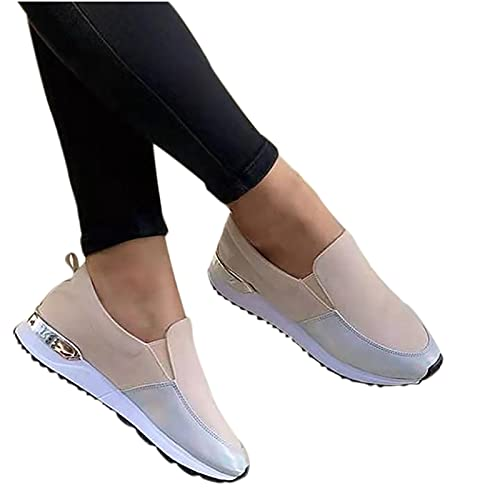 Women's Comfortable Color Block Loafers Casual Round Toe Wild Driving Flats Soft Walking Shoes Women Slip on(Beige,41)