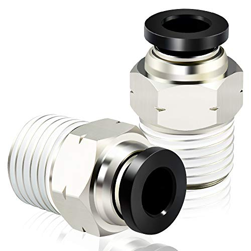 Tailonz Pneumatic Male Straight 1/4 Inch Tube OD x 1/4 Inch NPT Thread Push to Connect Fittings PC-1/4-N2 (Pack of 10)