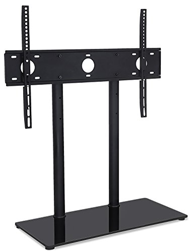 Mount-It! MI-846 Universal Height Adjustable Tabletop TV Stand w/Tempered Glass Base, Television Base Stand Bracket Fits 32-55 inch LED LCD 4K TV's