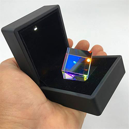 Würfelprisma, optisches K9-Glas, bunter Regenbogendekorations-Streuprisma-Würfel, wissenschaftliches Experimentprisma, optisches Lehrprisma, Refraktor-Kristallprisma, Geschenkbox mit LED,20*20*20mm