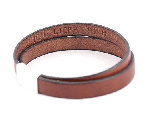 Lederarmband mit Gravur auf der INNEN- oder Außenseite. Die Geschenkidee für Männer: Zweifach gewickeltes Armband mit Gravur, Magnetverschluss. Personalisierbar durch Wunschtext. Beispiel in Rotbraun.