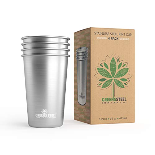 Greens Steel Taza de Acero Inoxidable de 16 oz/473ml (Paquete de 4) Va