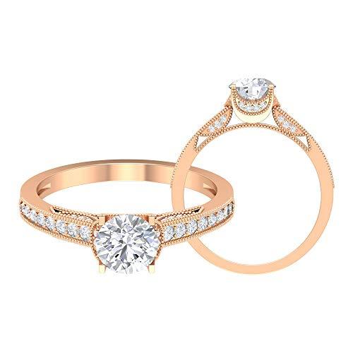Anello nuziale Hi-SI, anello solitario con diamante da 1,07 ct, stile Art Deco, anello di fidanzamento, anello da donna, unico, anello con perline anticate, 14K Oro rosa, Size:EU 55