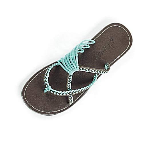 MRULIC Retro Damen Hausschuhe Hanfseil Flip Flops Flache Mode Römischen Sandalen Strand Schuh Zehentrenner Zuhause Hausschuhe(Blau,37 EU)