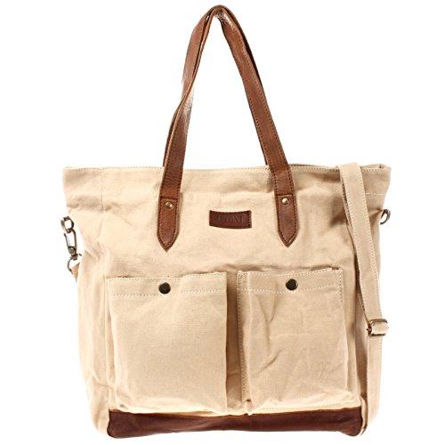 LECONI XL Shopper aus Canvas & Leder Vintage-Style Weekender Umhängetasche große Damen Tasche unisex Schultertasche Handgepäck-Tasche Beuteltasche 35x39x20cm beige LE0040-C
