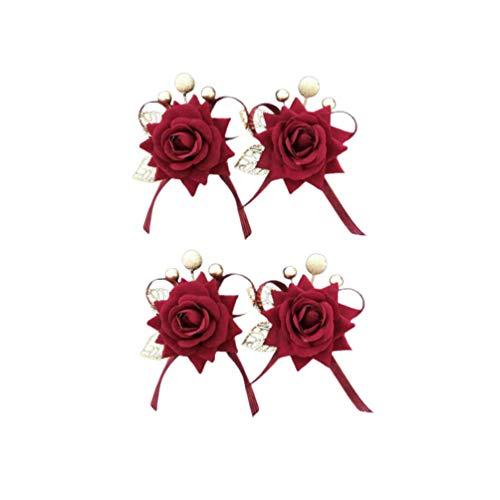 NUOBESTY - Broche de Flor de Rosa con Broche de Ramillete para el Pelo (4 Unidades)