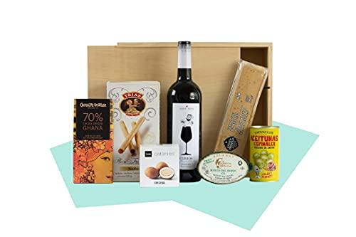 Cesta de Navidad - Regalos Empresa -Lote El Inicio, vino, turrón, conservas, productos artesanales