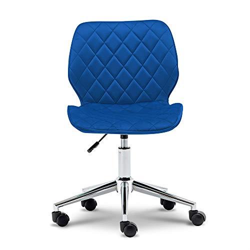 ONPNO Silla de oficina sin brazos, silla ergonómica para computadora, silla giratoria de tela para casa, oficina, dormitorio (azul)