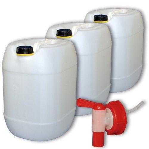 Wilai GmbH Bidons – Lot de 3 Jerricans 30 L, Naturel, avec 1 Robinet DIN 61 (22001x3+22010)