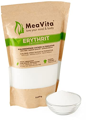 MeaVita Erythritol Alternative au sucre sans calorie, 1 paquet (1x 1000 g) dans un sac