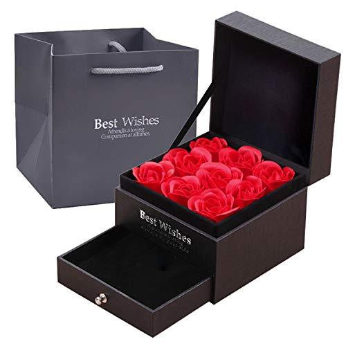 Boîte à bijoux N&A 9 roses conservées - Avec tiroir -boîte de bague boîte de collier Cadeau pour la Saint-Valentin, anniversaire de mariage (boîte à bijoux A)