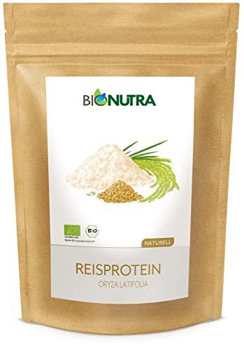 BioNutra® Rijst Eiwit Biologisch 1500 g, 82% eiwitgehalte, gemakkelijk oplosbaar poeder, veganistisch eiwit isolaat, EU Bio-standaard