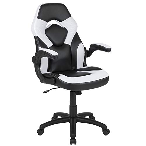 Flash Furniture X10 Gaming Chair Racing Office Ergonomic Computer PC Adjustable Swivel Chair with Flip-up Arms, White/Black LeatherSoft, BIFMA Certified chair gaming