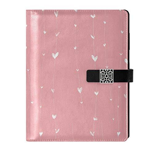 Cuaderno de cuero con diseño de corazones rosados rellenables, tamaño A5, con anillas, tapa dura, para mujeres y hombres