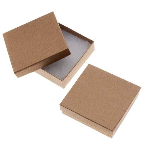 Beadaholique 16-Piece Kraft Square Cardboard Jewelry Boxes, 3.5 by 3.5 by 1-Inch, Brown