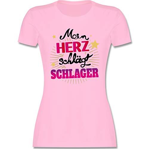 Schlager - Mein Herz schlägt Schlager - schwarz - XL - Rosa - Musik - L191 - Tailliertes Tshirt für Damen und Frauen T-Shirt