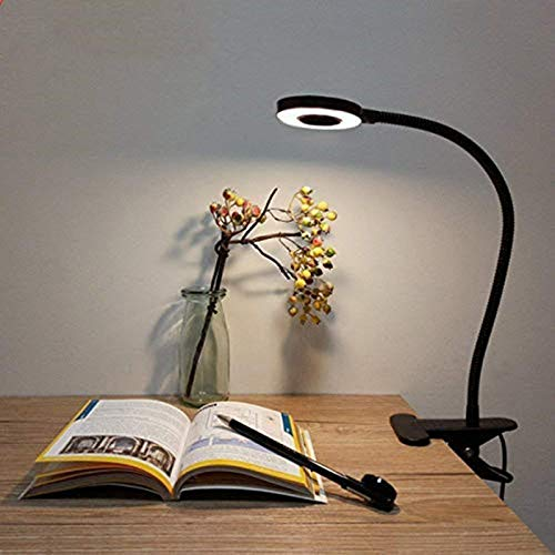 Lámpara de Pinza LED, Lypumso Luz Escritorio con Pinza de Protección Ocular, 2 Modos Ajustables, Blanco Frío/Cálido, 360 °Cuello Flexible, Ahorro de Energía, Negro
