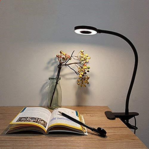 Lámpara de Pinza LED, Lypumso Luz Escritorio con Pinza de Protección Ocular, 2 Modos Ajustables, Blanco Frío/Cálido, 360 °Cuello Flexible, Ahorro de Energía